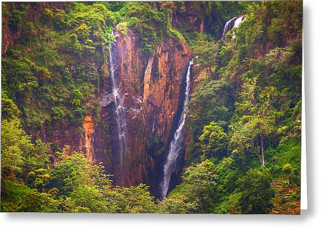 Ceylon Greeting Cards - The Waterfalls. Sri Lanka Greeting Card by Jenny Rainbow