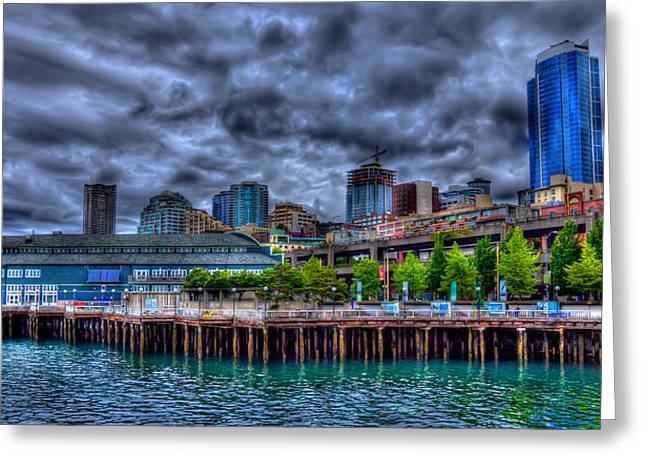 Seattle Waterfront Greeting Cards - The Waterfront - Seattle Washington Greeting Card by David Patterson