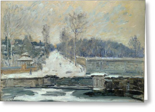 Marly Greeting Cards - The Watering Place at Marly-le-Roi Greeting Card by Alfred Sisley