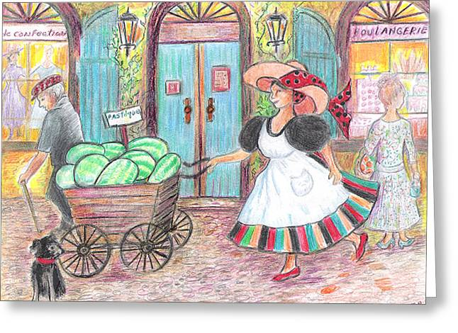 Watermelon Greeting Cards - The Watermelon Girl Greeting Card by Barbara LeMaster
