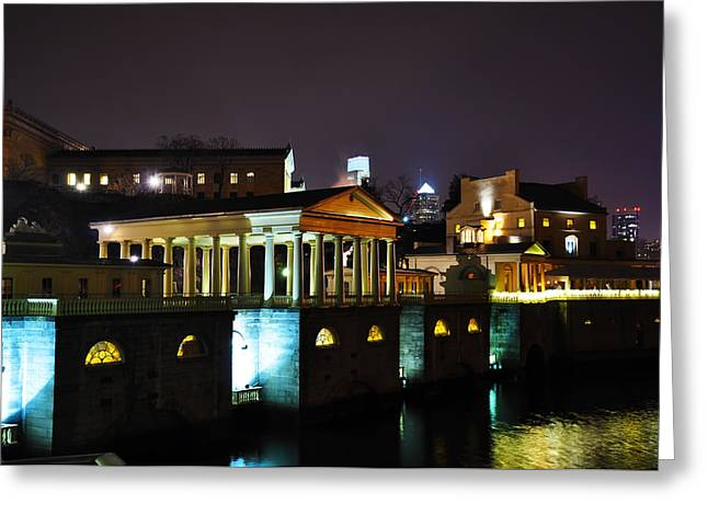 Phillies Art Digital Art Greeting Cards - The Waterworks at Night Greeting Card by Bill Cannon