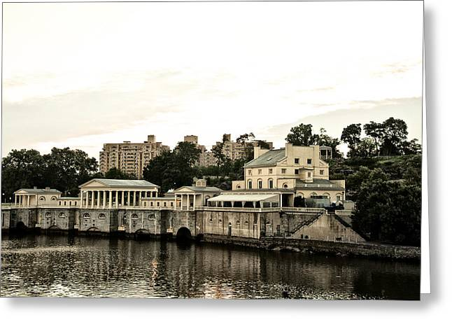 Phila Greeting Cards - The Waterworks Greeting Card by Bill Cannon