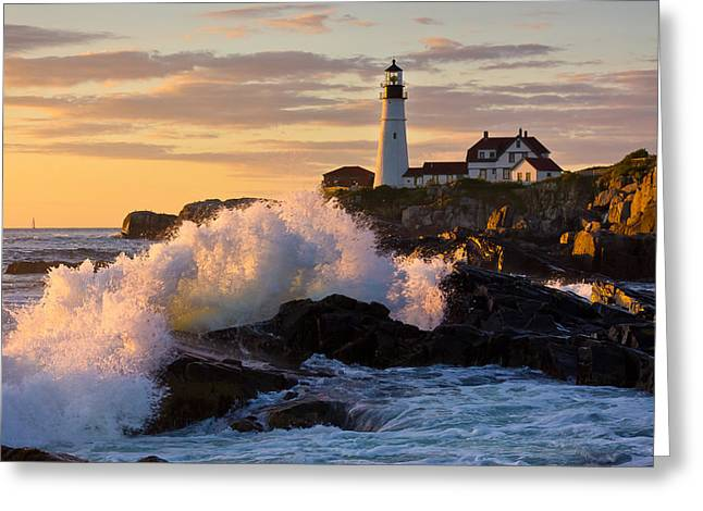Portland Head Light Greeting Cards - The Wave Greeting Card by Benjamin Williamson