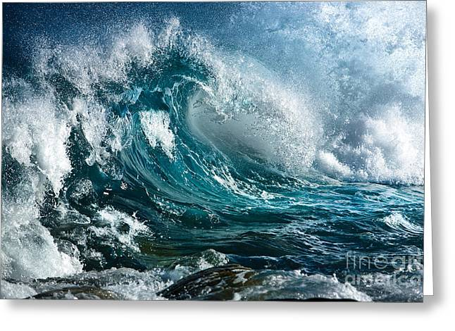 Selective Color Pyrography Greeting Cards - The Wave Greeting Card by Boon Mee