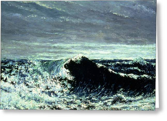Vague Greeting Cards - The Wave, C.1869 Oil On Canvas Greeting Card by Gustave Courbet