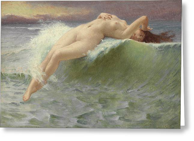 Old Masters Greeting Cards - The Wave Greeting Card by Guillaume Seignac