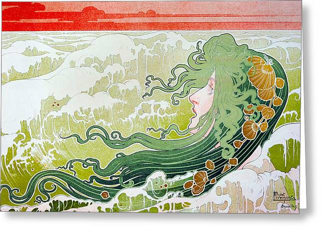 The Wave Greeting Card by Henri Pivat Livemont