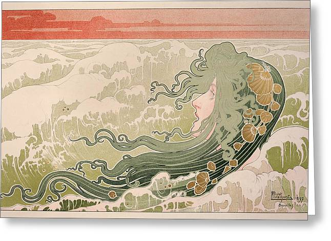 The Wave Greeting Card by Henri Privat-Livemont