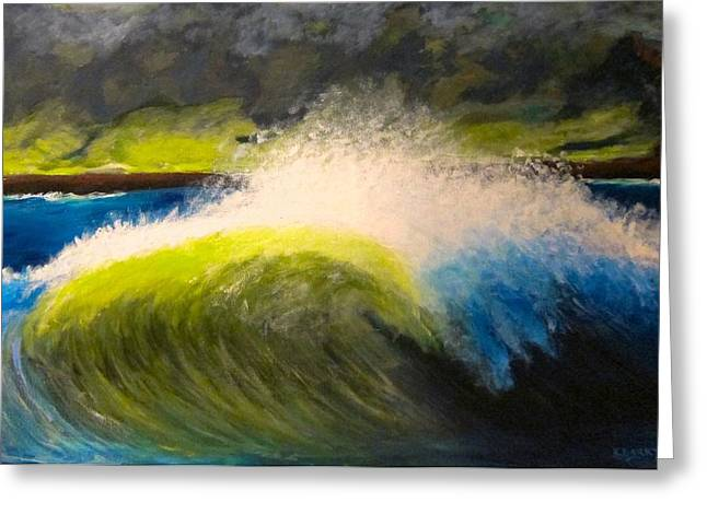 Santa Cruz Ca Paintings Greeting Cards - The Wave Greeting Card by Kathryn Barry