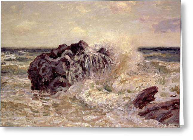 Ocean Spray Greeting Cards - The Wave Ladys Cove Langland Bay Greeting Card by Alfred Sisley