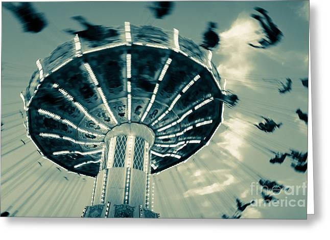 Carnival Art Greeting Cards - The Wave Swinger Greeting Card by Colleen Kammerer