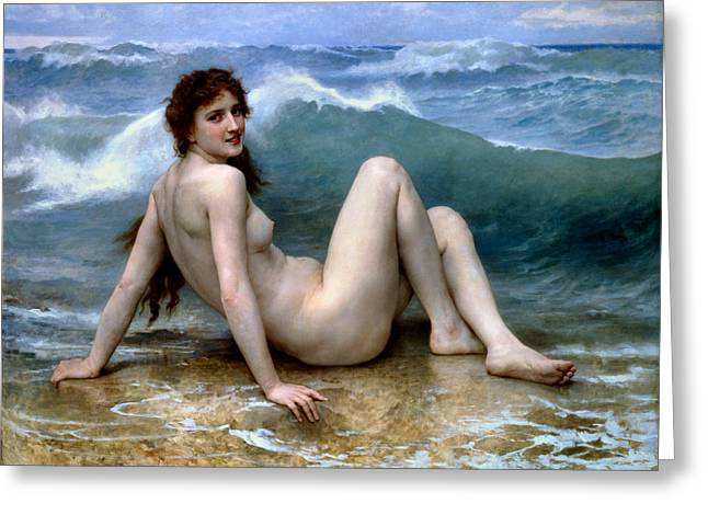 Beach Scenery Greeting Cards - The Wave Greeting Card by William Bouguereau