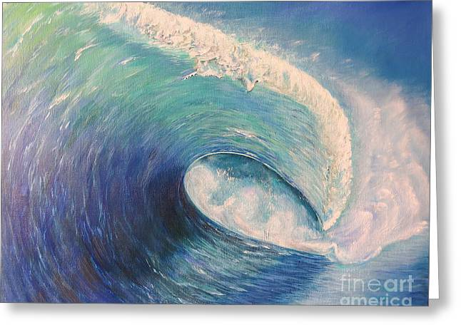 Pacific Ocean Prints Greeting Cards - The wave					 Greeting Card by Zina Stromberg
