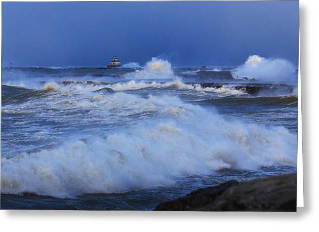 Lake Ontario Greeting Cards - The waves of Lake Ontario Greeting Card by Everet Regal