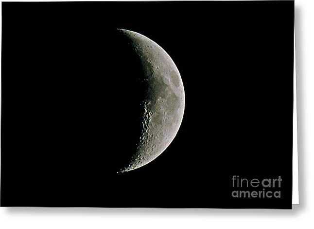 Waxing Crescent Greeting Cards - The Waxing Crescent Moon Greeting Card by John Chumack