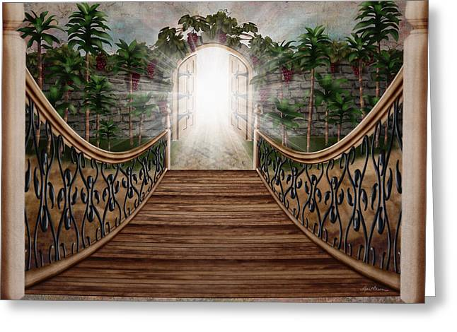 Castle Gates Greeting Cards - The Way and the Gate Greeting Card by April Moen