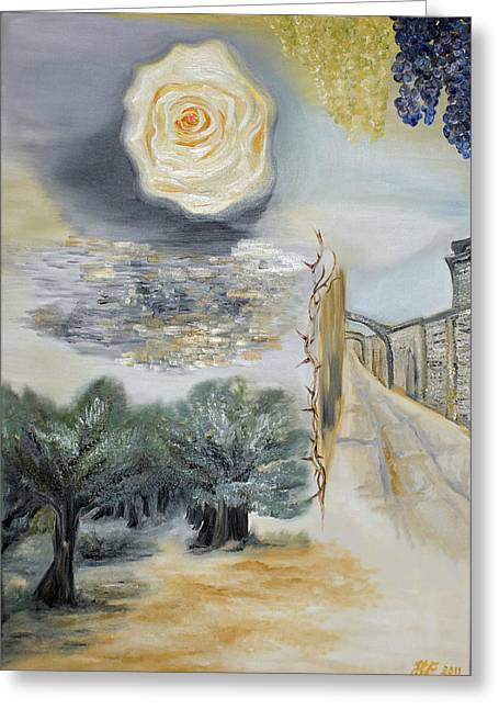 Spiritua Greeting Cards - The Way - His last hours Greeting Card by Helene Fallstrom