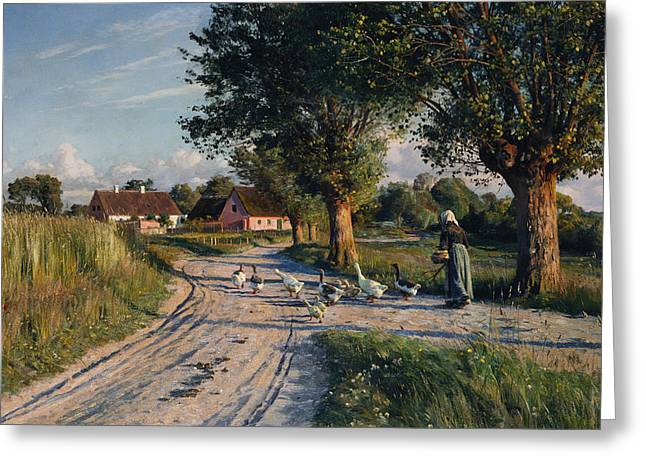 Herder Greeting Cards - The Way Home Greeting Card by Peder Monsted