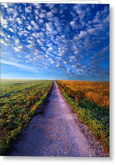 Dirt Road Greeting Cards - The Way Is Clear Greeting Card by Phil Koch