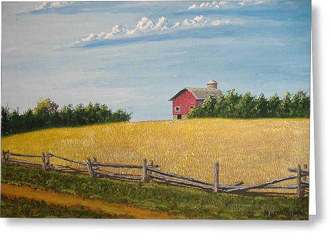 Split Rail Fence Paintings Greeting Cards - The Way it Was Greeting Card by Norm Starks