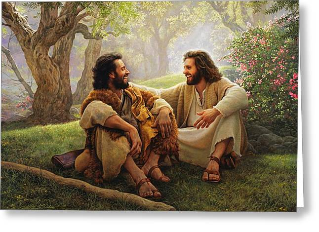 Laughing Greeting Cards - The Way of Joy Greeting Card by Greg Olsen