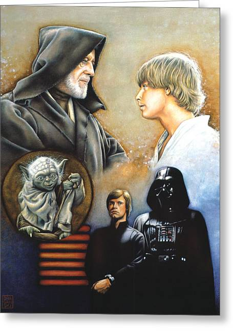 The Drawings Greeting Cards - The Way of the Force Greeting Card by Edward Draganski