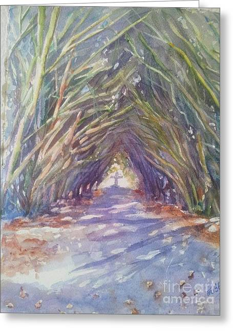 Cemetary Paintings Greeting Cards - The Way Greeting Card by Patricia Pushaw