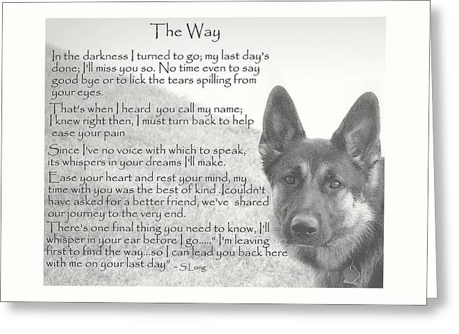 K9 Greeting Cards - The Way Greeting Card by Sue Long
