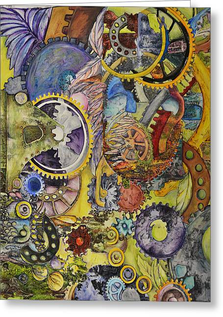 Cog Paintings Greeting Cards - The way things work 1 Greeting Card by Sherry Ross
