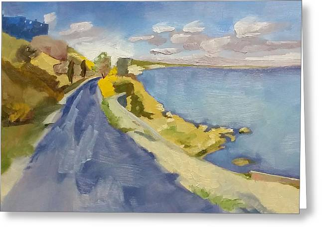 Roadway Paintings Greeting Cards - The Way to Mytilene Greeting Card by Kari Melen