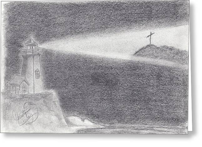 The Way To The Cross Greeting Card by Christina Conley
