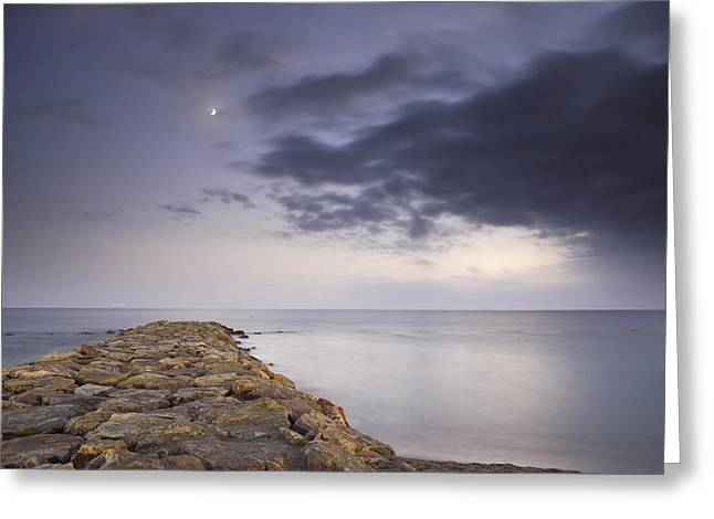 Moon Beach Greeting Cards - The way to the moon Greeting Card by Guido Montanes Castillo