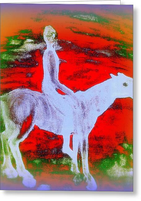 Basement Paintings Greeting Cards - The way you ride Greeting Card by Hilde Widerberg