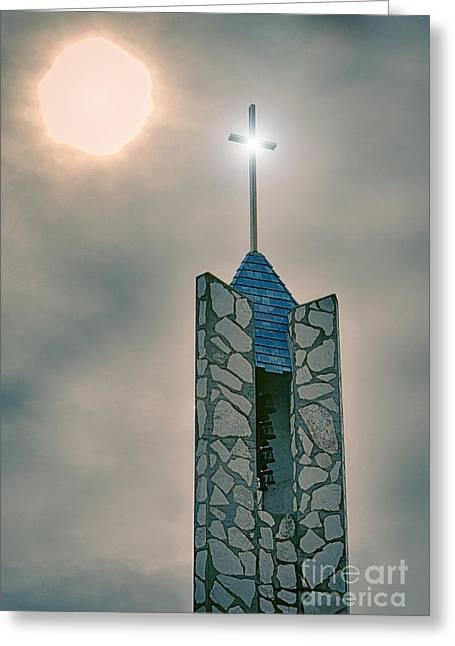 The Wayfarers Chapel Steeple Greeting Card by Donna Greene