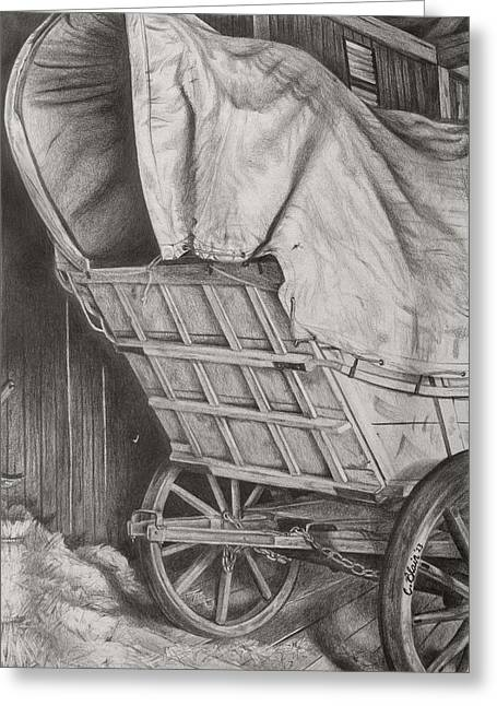 Wagon Wheels Drawings Greeting Cards - The Weary Traveler Greeting Card by Chelsea Blair