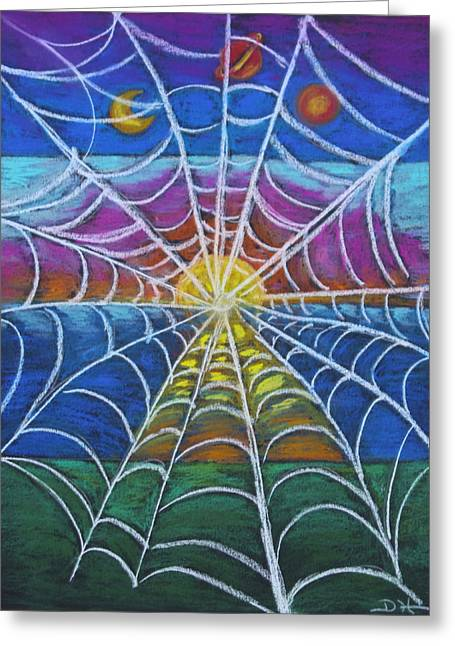 Web Pastels Greeting Cards - The Web of Life Greeting Card by Diana Haronis