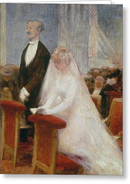 Bride Greeting Cards - The Wedding Greeting Card by Albert Guillaume