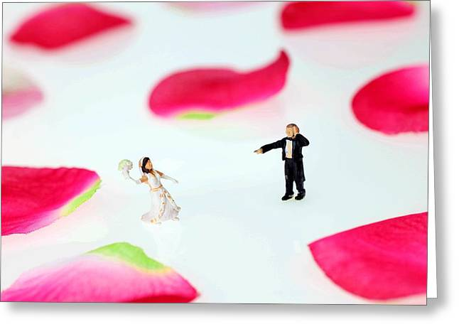 Creative People Greeting Cards - The wedding among rose petals little people big world Greeting Card by Paul Ge