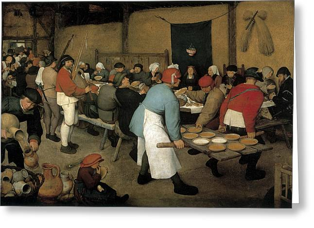 Reception Paintings Greeting Cards - The Wedding Banquet Greeting Card by Pieter Bruegel the Elder