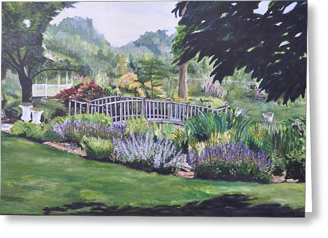 Sunlight On Pots Paintings Greeting Cards - The Wedding Bridge Greeting Card by Dottie Branchreeves