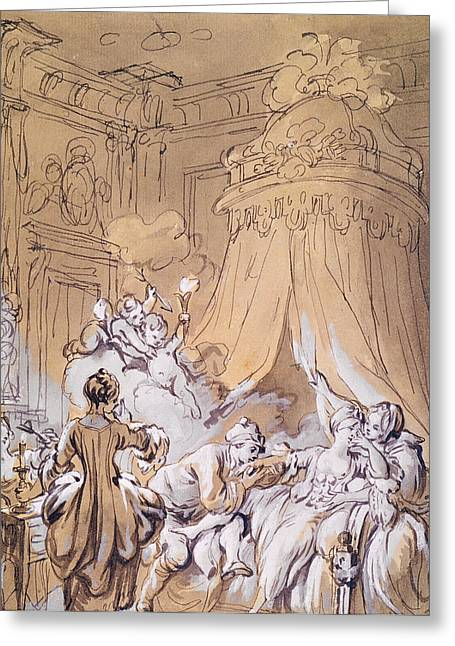 Pen And Ink Drawing Greeting Cards - The Wedding Night Greeting Card by Pierre Antoine Baudouin