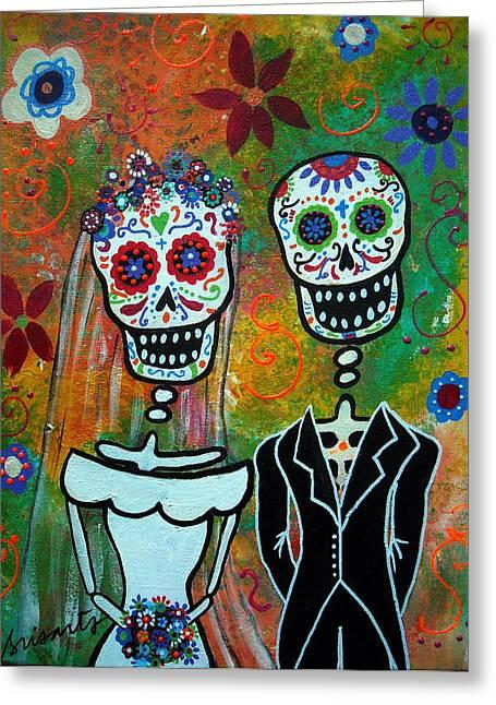 Wedding Couple Day Of The Dead Dia De Los Muertos Anniversary Gift Te Amo Prisarts Pristine Cartera Turkus Bride Flowers Blooms Love Mexican Art Folk Town For Sale Original Greeting Cards - The Wedding Greeting Card by Pristine Cartera Turkus