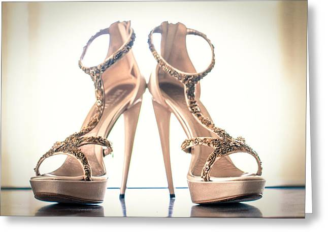 Alexander Mcqueen Greeting Cards - The Wedding Shoes Greeting Card by Constance Fein Harding