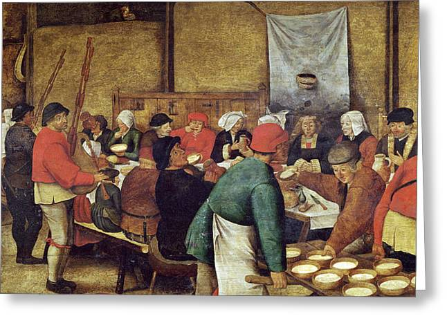 Wine Pouring Greeting Cards - The Wedding Supper Greeting Card by Pieter the Younger Brueghel