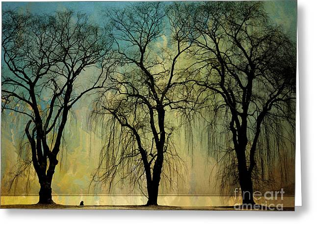 Weeping Digital Greeting Cards - The Weeping Trees Greeting Card by Bedros Awak