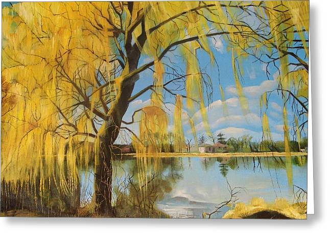 Recently Sold -  - Willow Lake Greeting Cards - The Weeping Willow Greeting Card by Antonia Posey