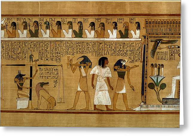 Afterlife Greeting Cards - The Weighing Of The Heart Against Maats Feather Of Truth, From The Book Of The Dead Of The Royal Greeting Card by Egyptian 19th Dynasty