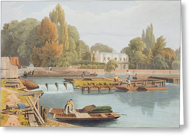 River Thames Greeting Cards - The Weir, From Marlow Bridge, Engraved Greeting Card by William Havell