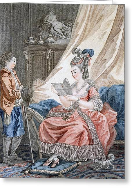 Love Letter Greeting Cards - The Welcome News, Engraved By L. Marin Greeting Card by Jean-Baptiste Le Prince
