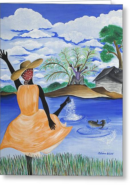 Man Dressed In Black Greeting Cards - The Welcome River Greeting Card by Patricia Sabree